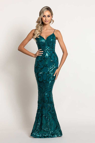 Eisley Fishtail Pattern Sequin Gown in Emerald Dresses Bariano