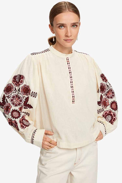 Embroidered Top w Voluminous Sleeve Tops Maison Scotch