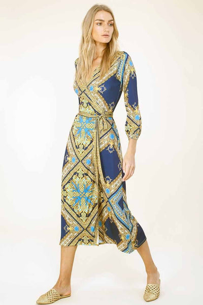 Emerson Wrap Dress in Blue Dresses Hale Bob