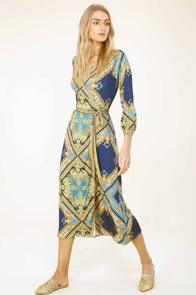 Emerson Wrap Dress in Blue