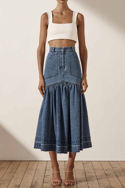 Emily Fit & Flare Midi Skirt Bottoms Shona Joy