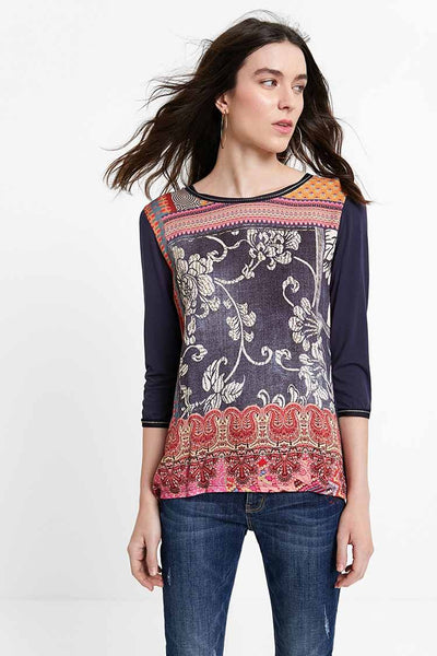 Ethnic Blouse w Friezes in Patch Tops Desigual