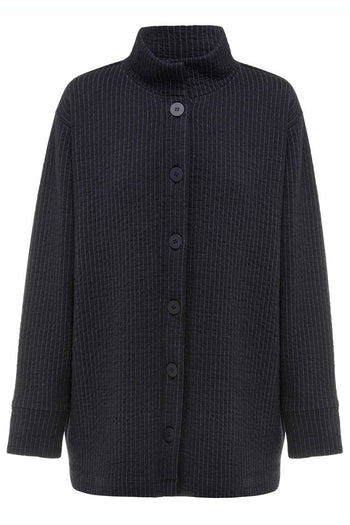 Button Bomber in Navy/Marl