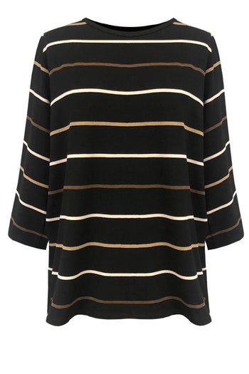 Spa Top in Black Dune Stripe