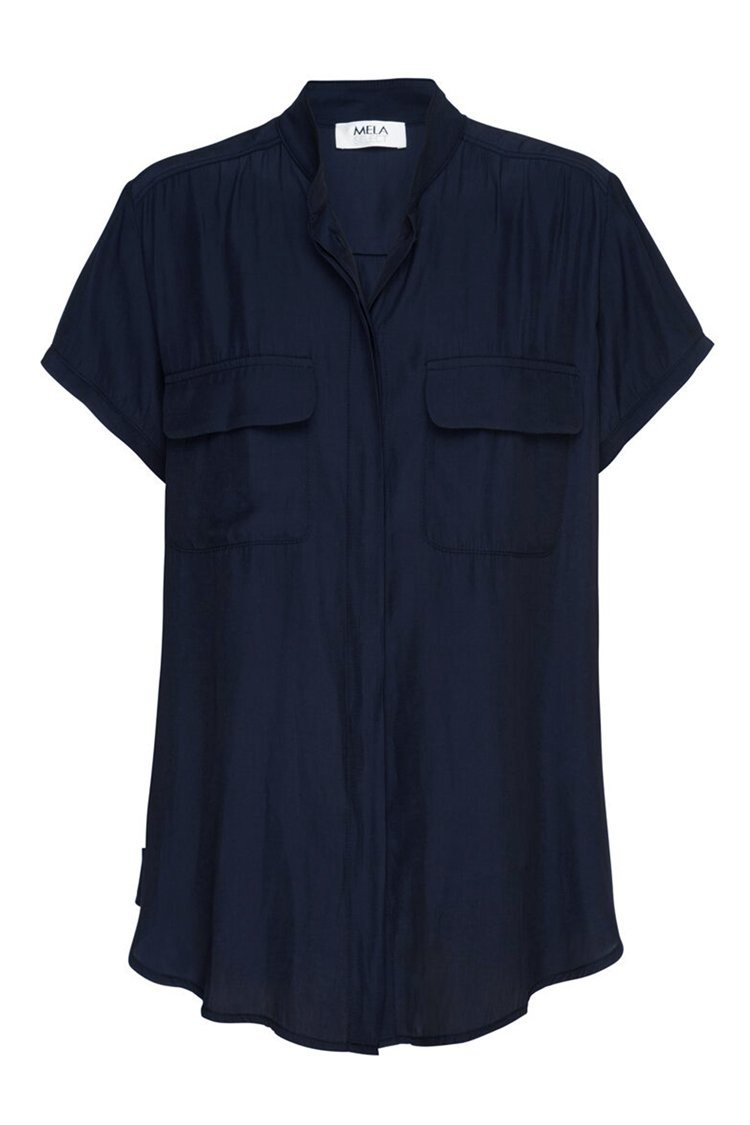 Stand Collar Blouse in Navy