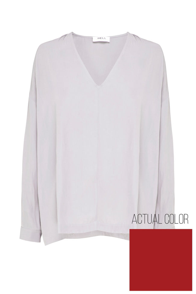 L/S V Blouse in Brick