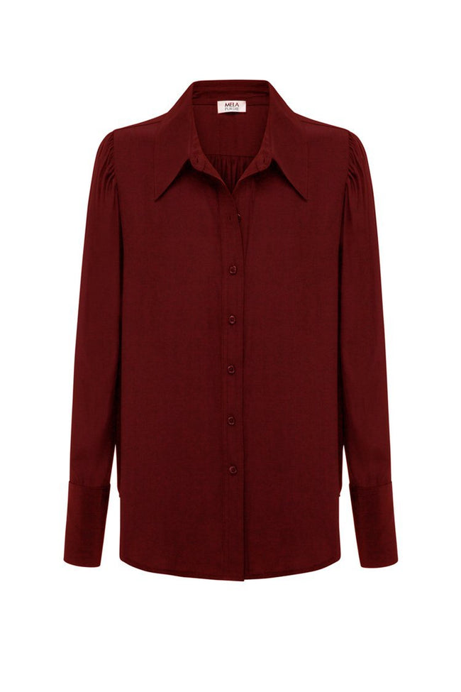 Tulle Sleeve Blouse in Claret