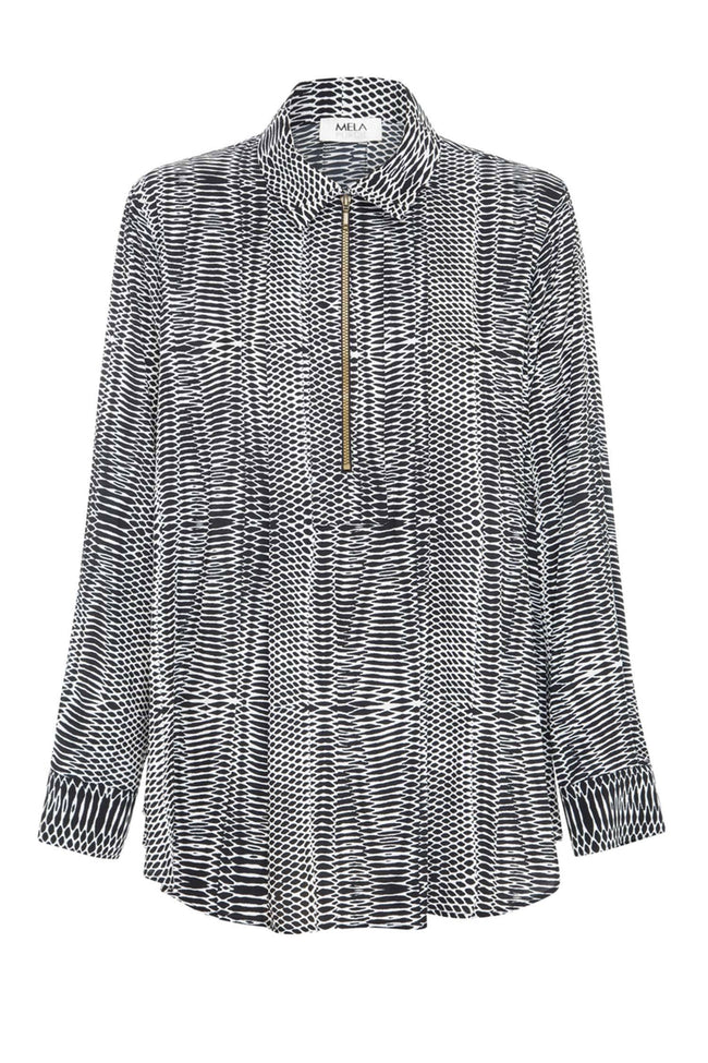 Zip Pleat Shirt in Chameleon