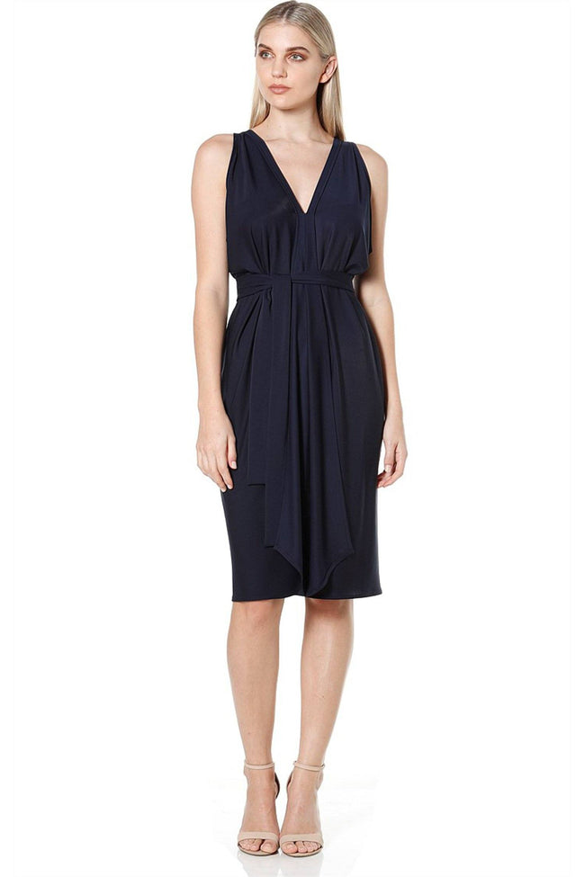 Column Drape Reversible Sleeveless Dress in Navy