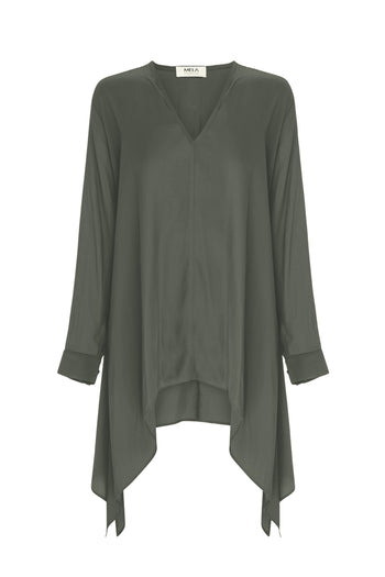 Drop Side Tunic in Olive
