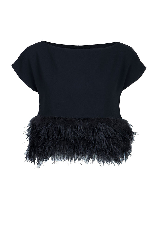 Feathered Top in Nero