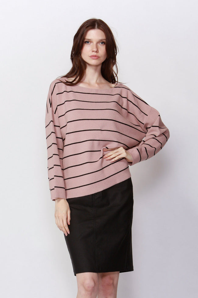 Pretty & Free Stripe Jumper in Blush