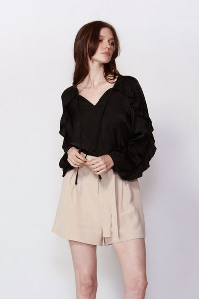 Richmond Frilled Blouse in Black Tops Fate + Becker