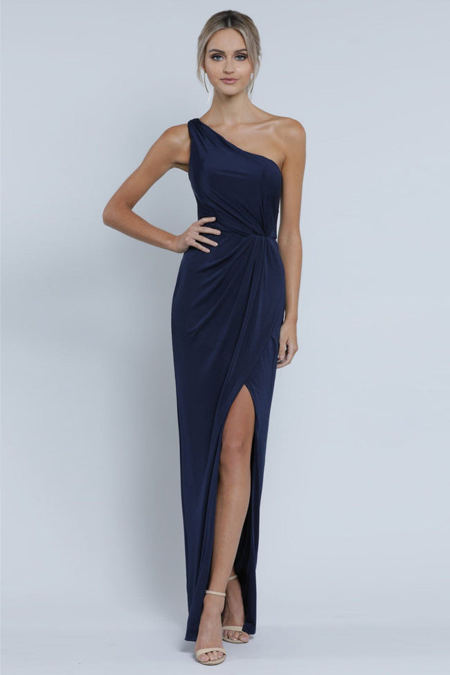Eva One Shoulder Draped Gown