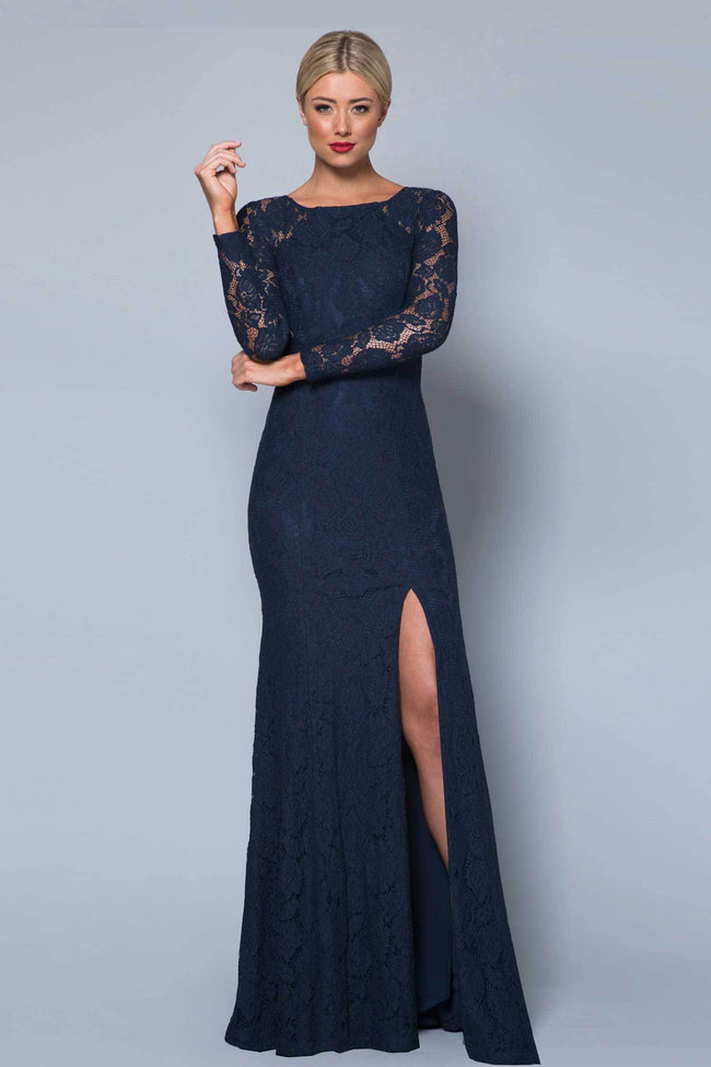 Shop Online Naime Long Sleeve Chantilly Gown by Bariano  Frockaholics Dresses