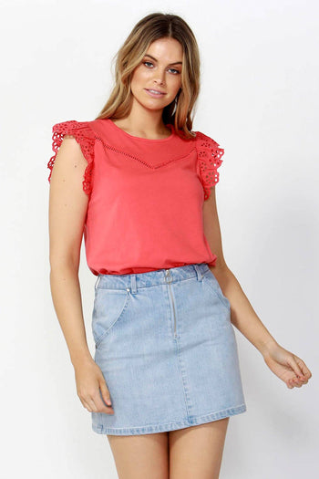 Sweet Escape Lace Top in Watermelon