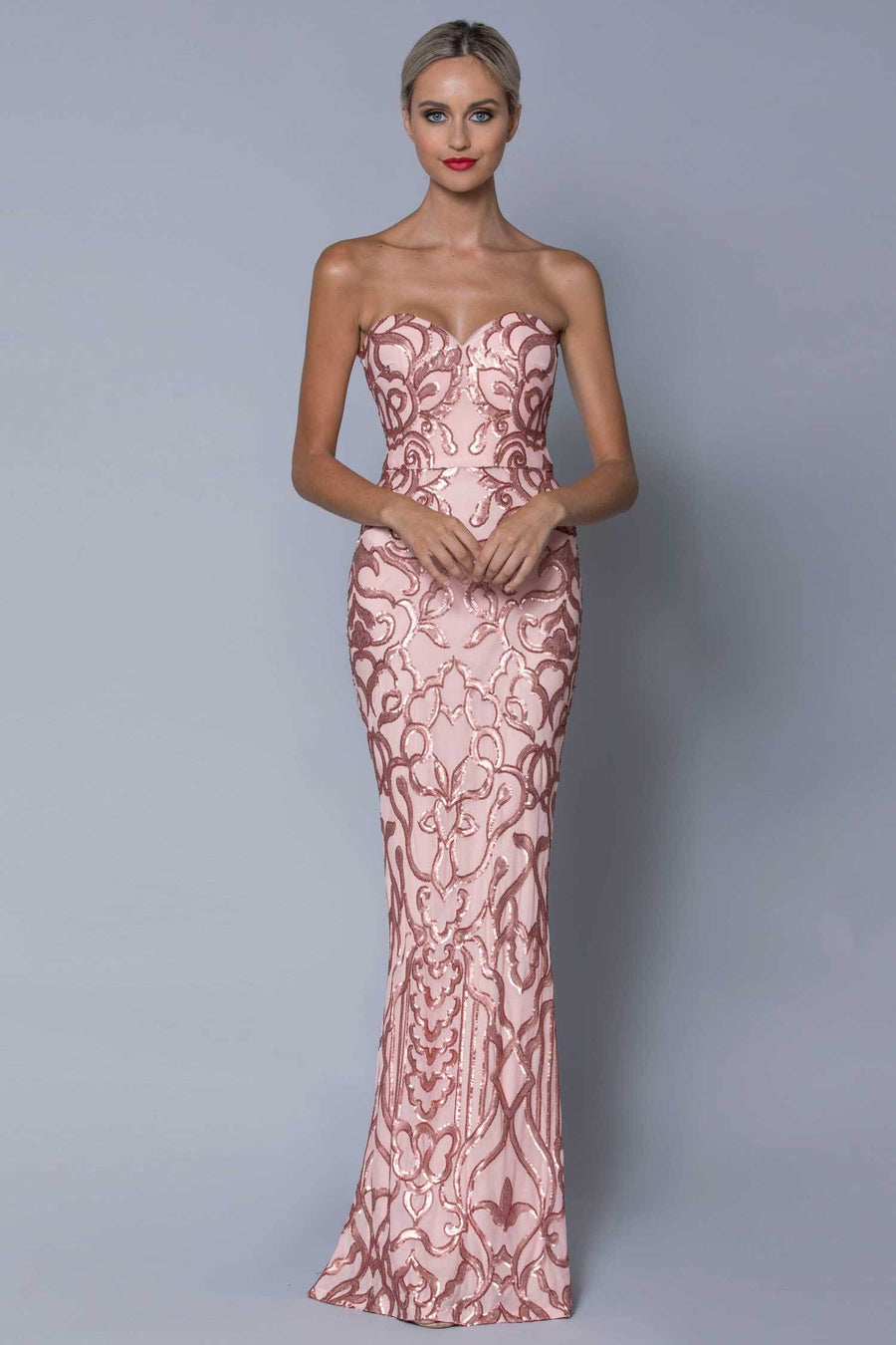 Shop Online Effie Strapless Pattern Sequin Gown by Bariano  Frockaholics Dresses