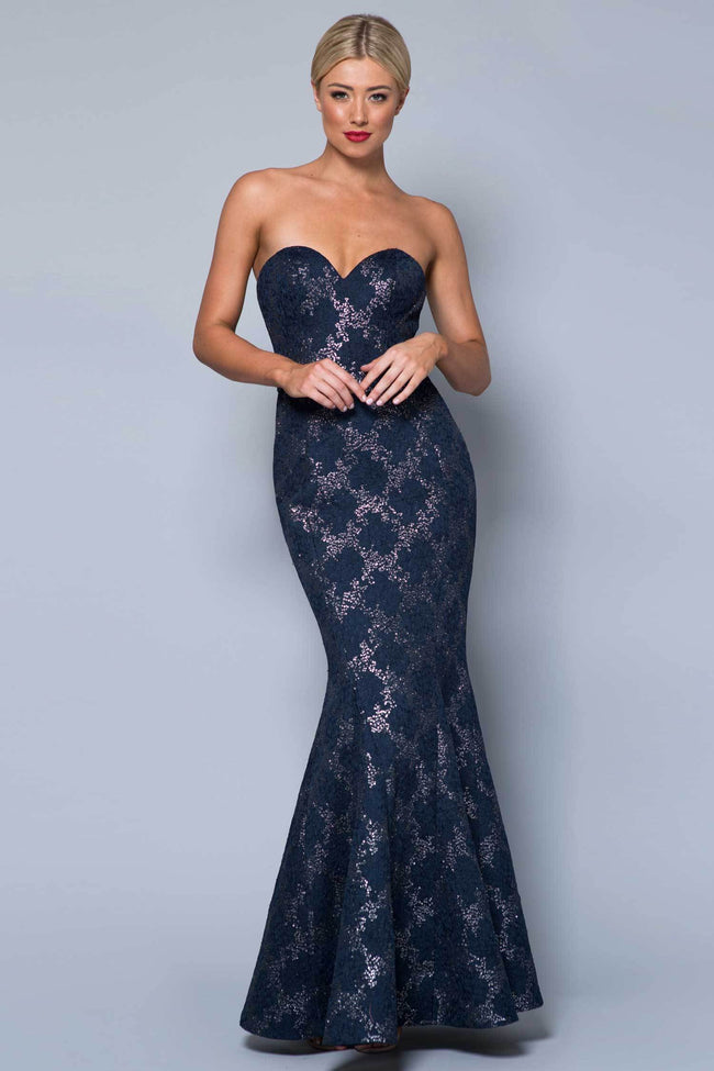 Shop Online Winnie Strapless Mesh Gown by Bariano  Frockaholics Dresses
