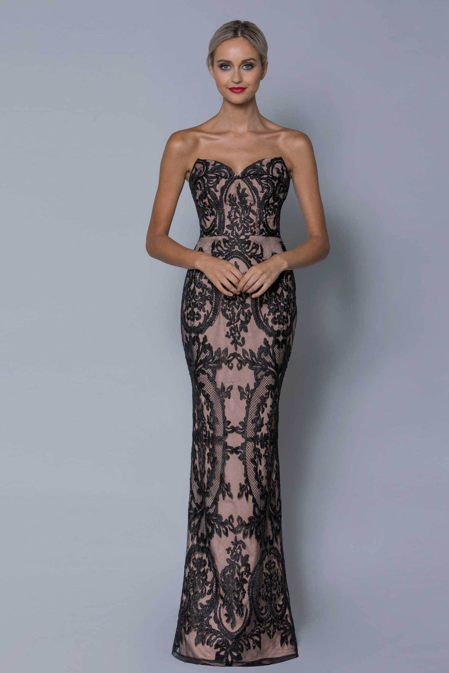 Shop Online Corinna Strapless Corded Lace Gown by Bariano  Frockaholics Dresses
