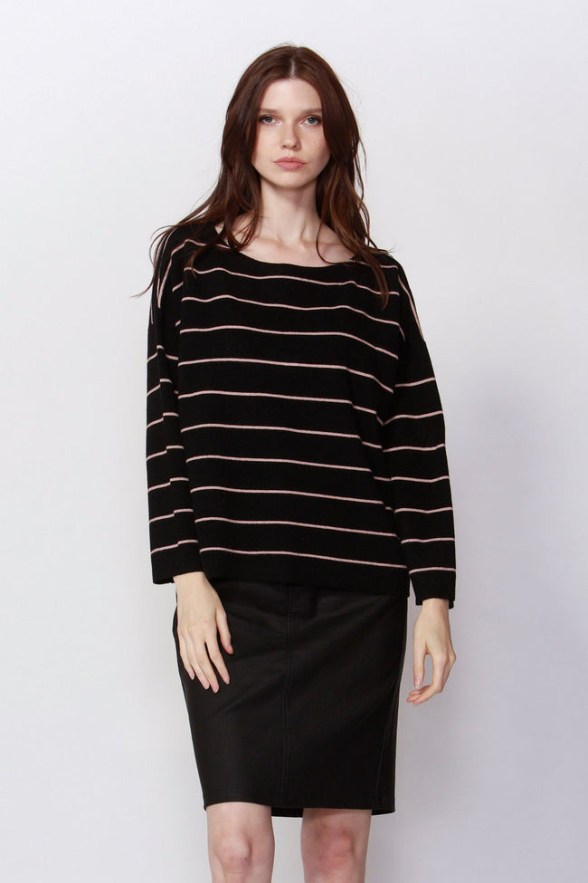Pretty & Free Stripe Jumper in Black