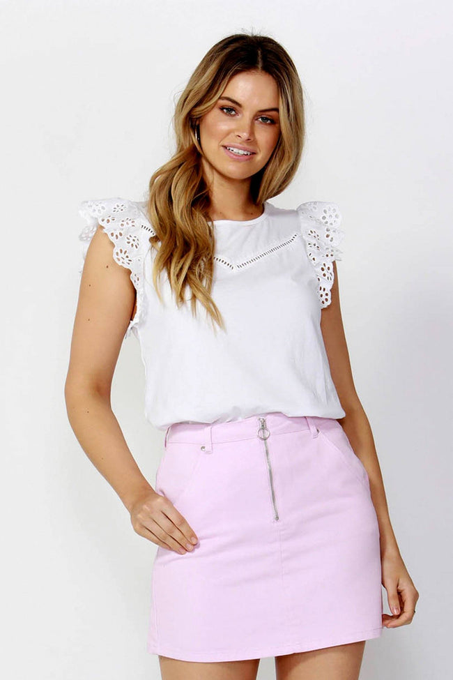 Sweet Escape Lace Top in Coconut