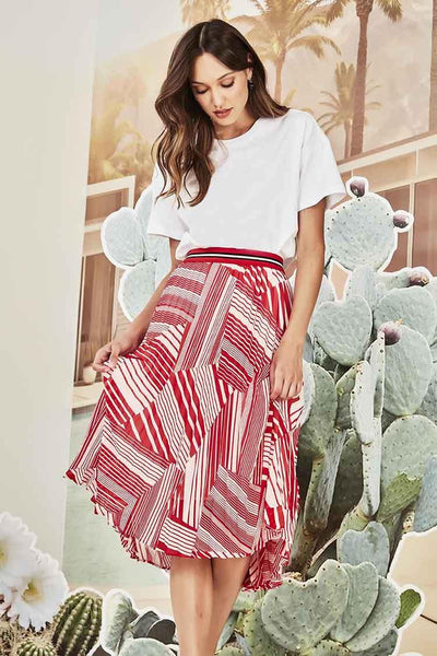 Fallon Pleat Skirt in Red Bottoms Verge