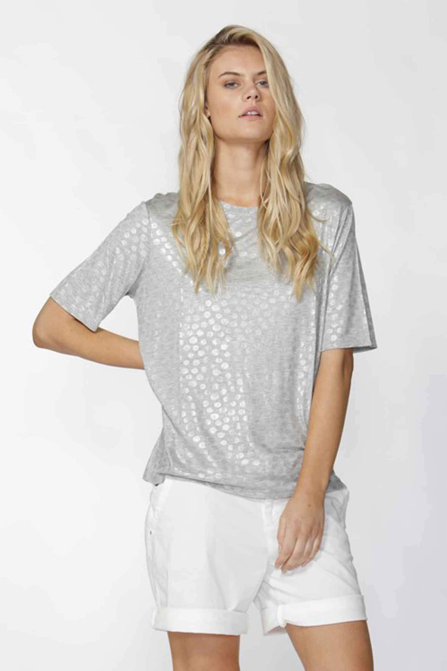 Ina Shiny Spots Tee in Silver Grey by Fate + Becker Frockaholics.com