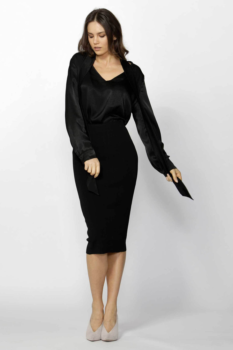 Shop Online Niue Neck Tie Shirt in Black by Fate + Becker  Frockaholics Tops