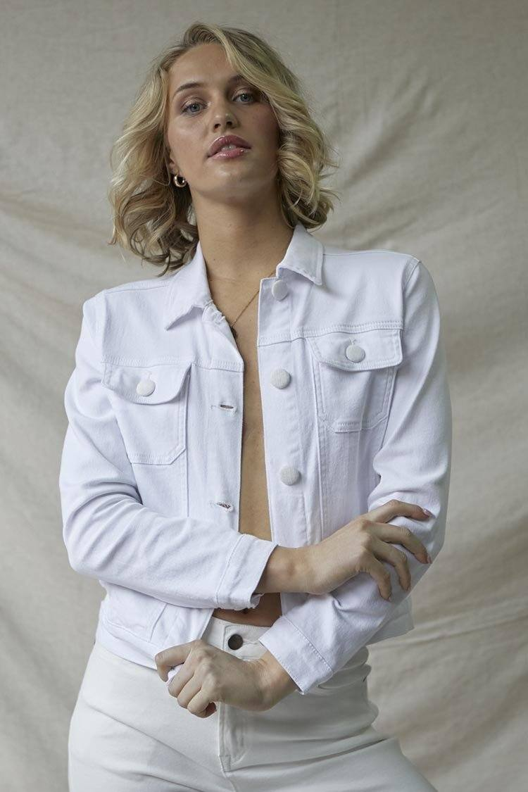 Palo Alto Denim Jacket in White Sand