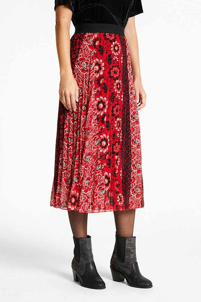 Flared Pleated Printed Skirt Bottoms Desigual