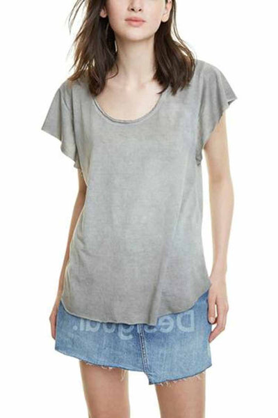 Floral Devore Design T-Shirt in Grey Tops Desigual