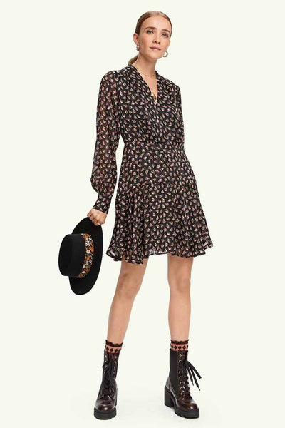 Floral Printed Dress in Sheer Stripe Dresses Maison Scotch
