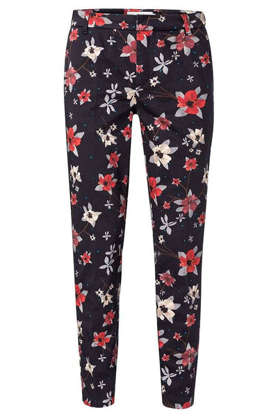 Flower Aop Pantalon in Black Bottoms Yaya