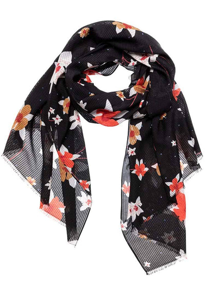 Flower Print Scarf in Black Accessories Yaya