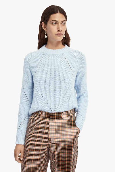 Fuzzy Knit in Cloudy Blue Tops Maison Scotch