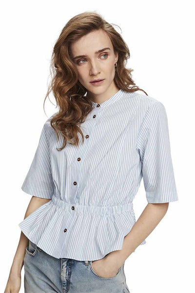 Gathered Button Up Waist Shirt Tops Maison Scotch