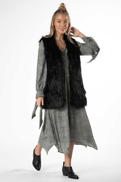 Gurli Fur Vest in Black Jackets & Outerwear SASS