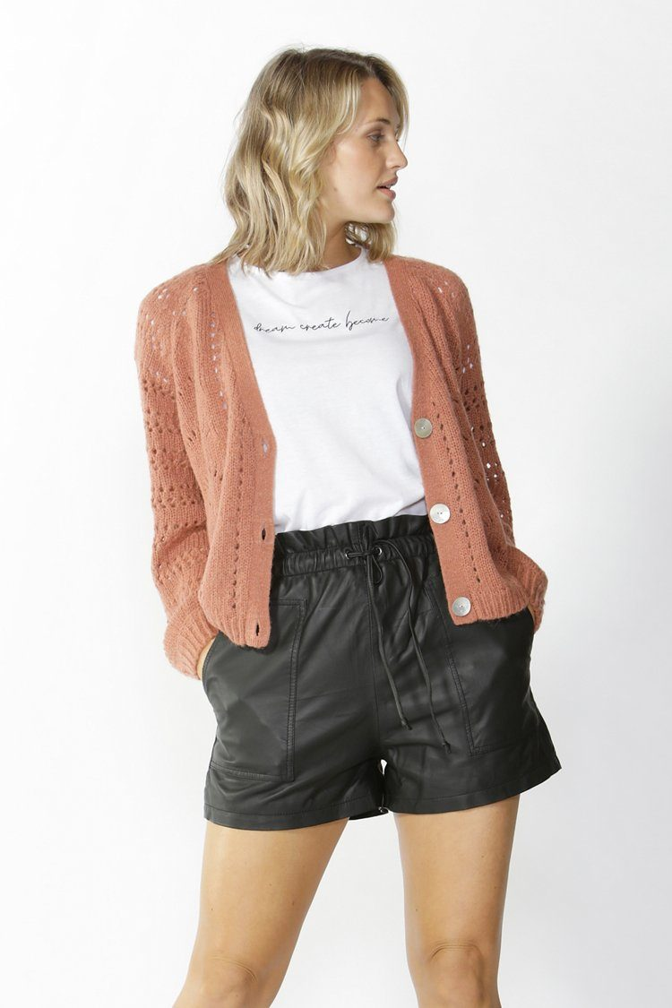 Halliday Lace Knit Cardigan in Coffee