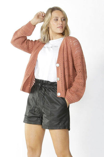 Halliday Lace Knit Cardigan in Coffee Jackets & Outerwear Fate + Becker