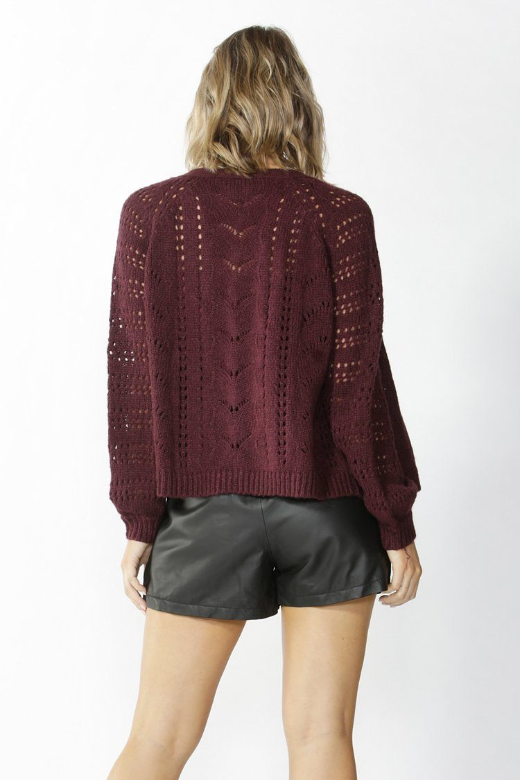 Halliday Lace Knit Cardigan in Burgundy