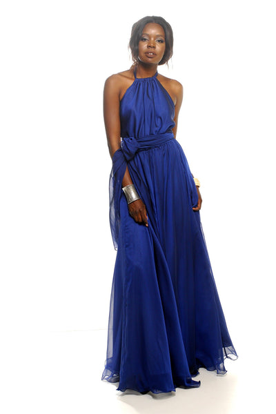 Harlow Gown in Sapphire | Chiffon Dresses Lucy Laurita - Leiela