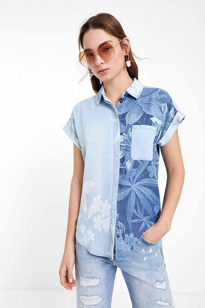 Hawaiian Denim Shirt Tops Desigual