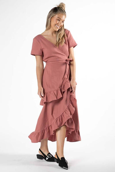 Hilda Ruffle Dress in Rosewood Dresses SASS