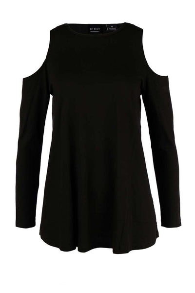 Hole Shoulder Jersey Top in Black Tops Press