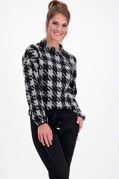 Houndstooth Jacquard Sweater Tops Monari