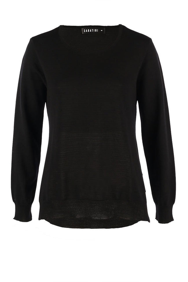 Crew Neck L/S Top in Black