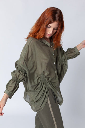 Shirred Sleeve Blouse in Olive