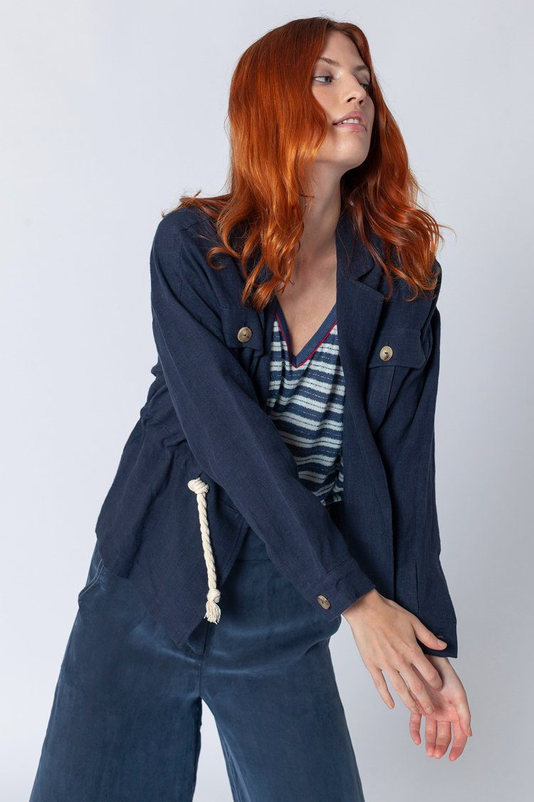 Nautical Jacket With Ties in Navy