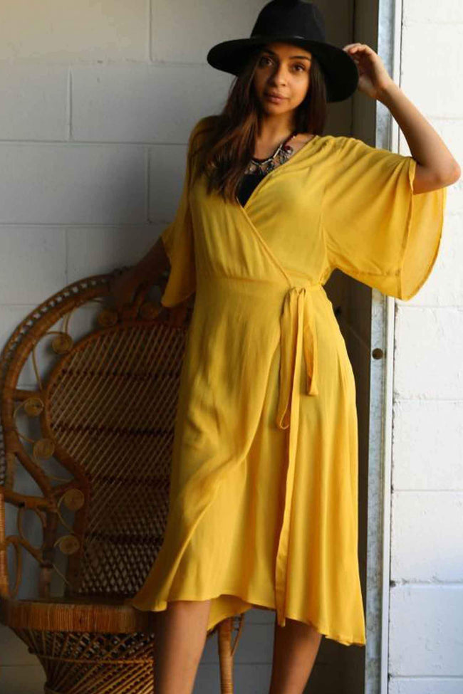 Gypset Wrap Dress in Mustard by The Gypsy And The Officer Frockaholics.com