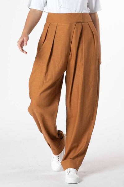 Ida Pleat Pant in Amber Bottoms SASS